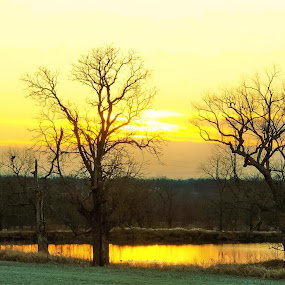 Winter Sunset by the pond. by Jim Dawson - Novices Only Landscapes