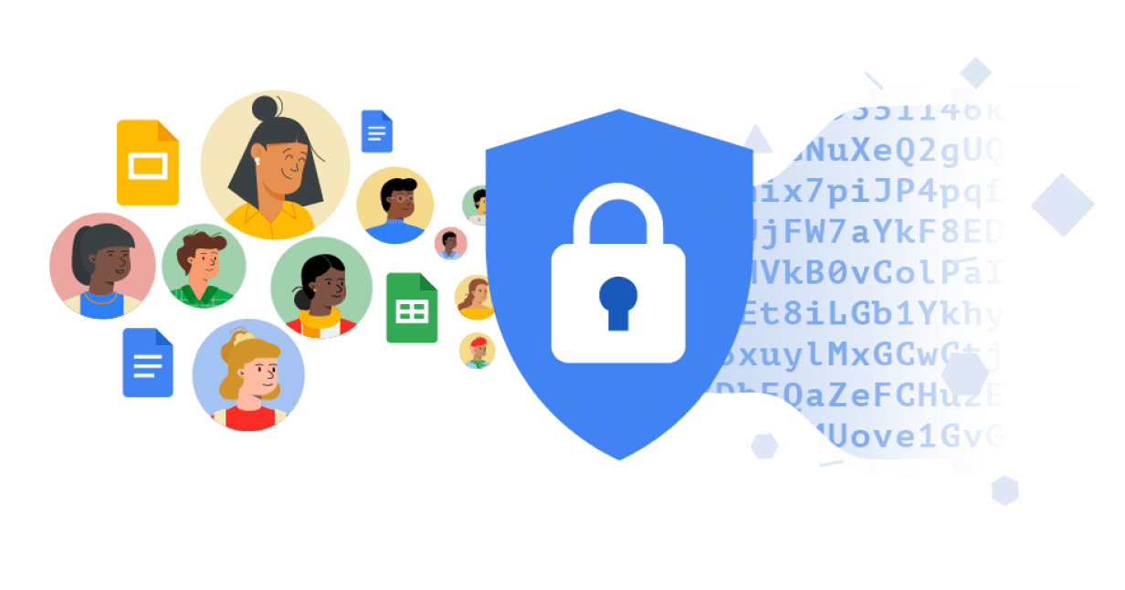 A lock within a blue shield. To the left of the shield are ten circles with cartoon people inside, mixed with the icons for Google Docs, Slides, and Sheets. To the right of the shield is a stream of randomized letters and numbers to represent data encryption.