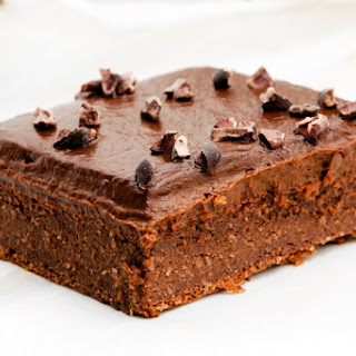 Healthy Blender Brownies with Chocolate Avocado Frosting.