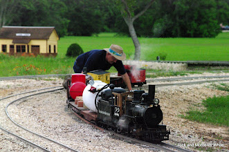 Photo: Phillip Bell and his narrow gauge train.  HALS - SWLS 2009-0523