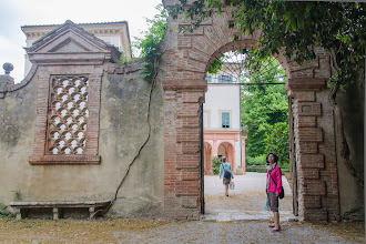 Photo: Irene (with Florine heading towards the villa in the background)