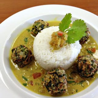 """Vegan Indian """"Meatballs"""" with Coconut Curry Sauce and Lemon-Scented Basmati Rice."""