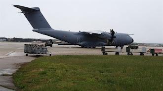 Llegada a Madrid del avión militar procedente de China.