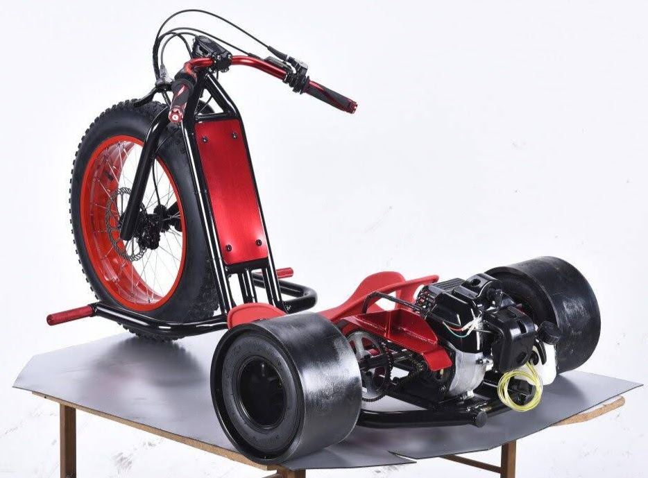 Petrol Powered Motorised Drift Trike Slider Drifting Tricycle bike for sale Green