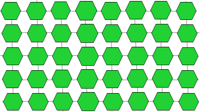 image is a schematic showing multiple green hexagons, each representing a glucose molecule, arranged in rows with lines linking them both vertically and horizontally, as in a grid