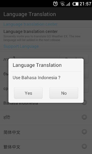Bahasa Indonesian GO WeatherEX 1.1 screenshots 2