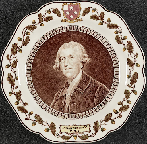 Commemorative plate featuring Josiah Wedgewood