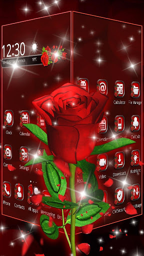 3D Love Red Rose Glitter Theme 1.1.1 screenshots 2