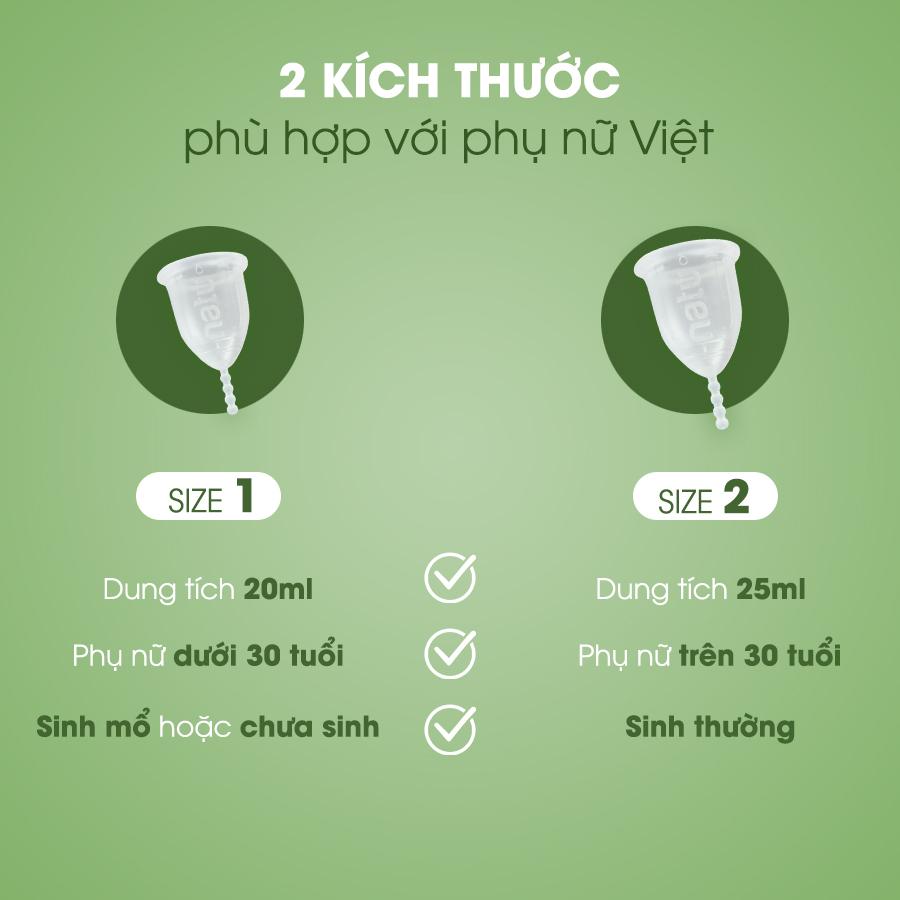 Size cốc đa dạng được thiết kế theo cơ địa phụ nữ Việt Nam