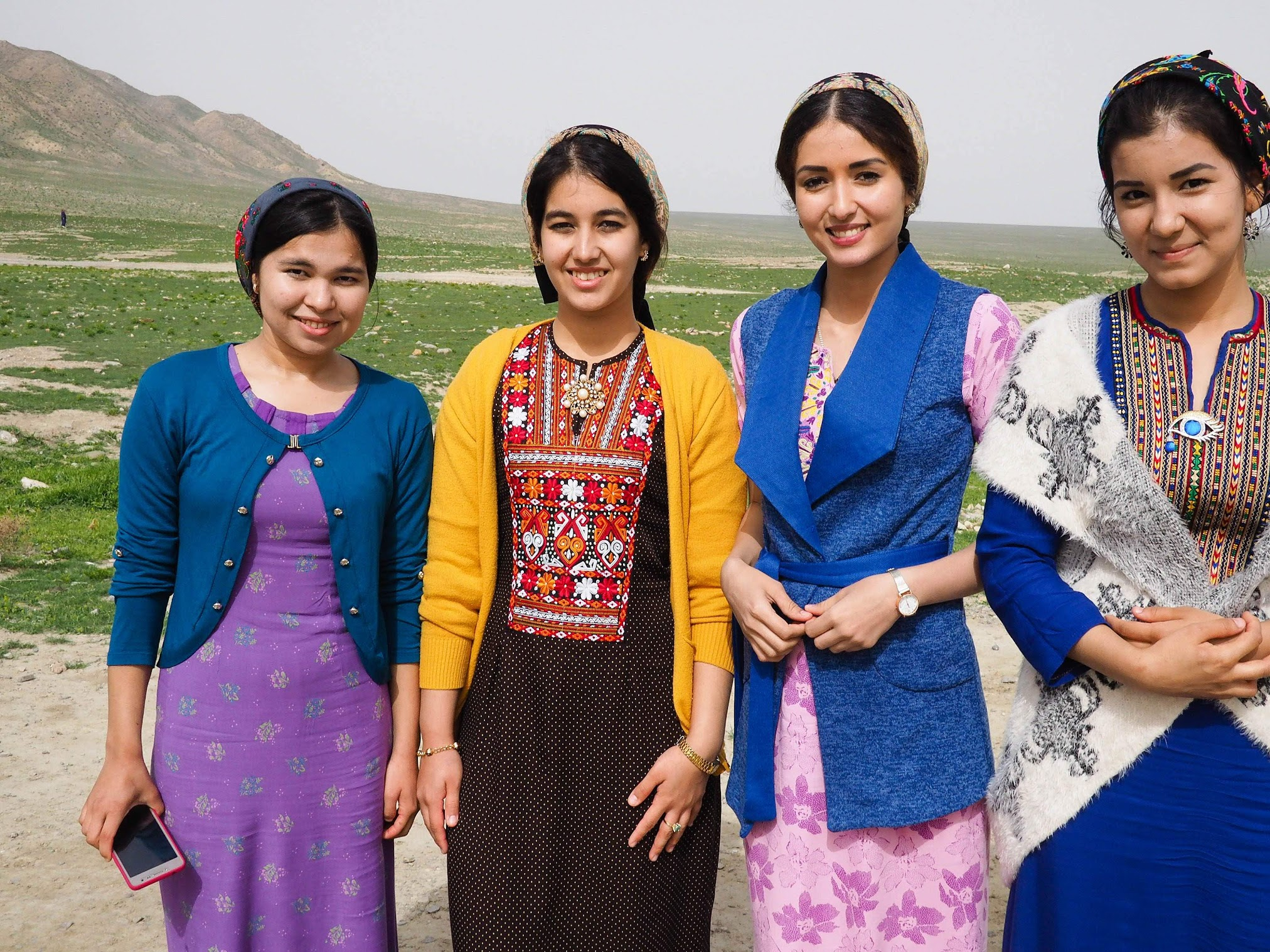 Colorful dresses of local young women in Turkmenistan