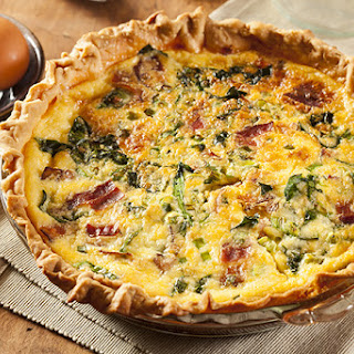 Easy Bacon, Cheese and Spinach Quiche.