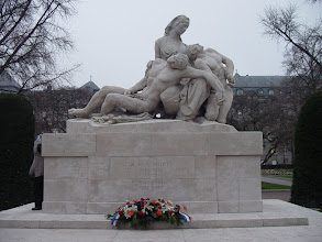 Photo: In La Place de la Republique is this sculpture, showing a mother with her two dead sons – one killed defending France, the other Germany. In the two World Wars of the 20th century, this was a very real issue for Alsace.
