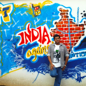Me before the graffiti  by Sandeep Suman - People Street & Candids ( graffiti, art, fine art, india, candid, people, wall, portrait )