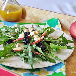 Organic Dandelion, Blackberries, and White Peach Salad