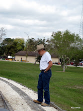 Photo: George Leventon watching the train go over where he just worked on the track.      SWLS at HALS 2009-1107