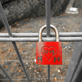 A red hanging lock by Svetlana Saenkova - Artistic Objects Other Objects ( red, love, rust, metal, one colour, one color, married, heart, object )