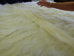 Photo: laying down the second layer of white fibres