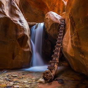 Tomb Raider by Mike Lindberg - Landscapes Deserts ( ladder, kanarra creek, slot canyon, dry, desert, utah, creek, arid, long exposure, glow, rocks, southern utah )