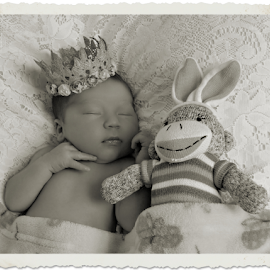 Princess & Sock Bunny BW by Cheryl Korotky - Black & White Portraits & People