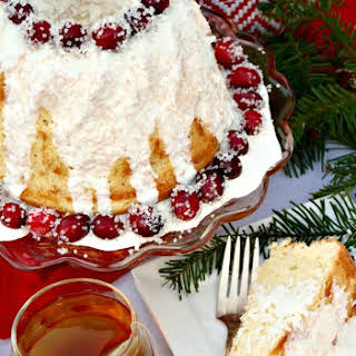 Chiffon Cake with Sugared Cranberries.