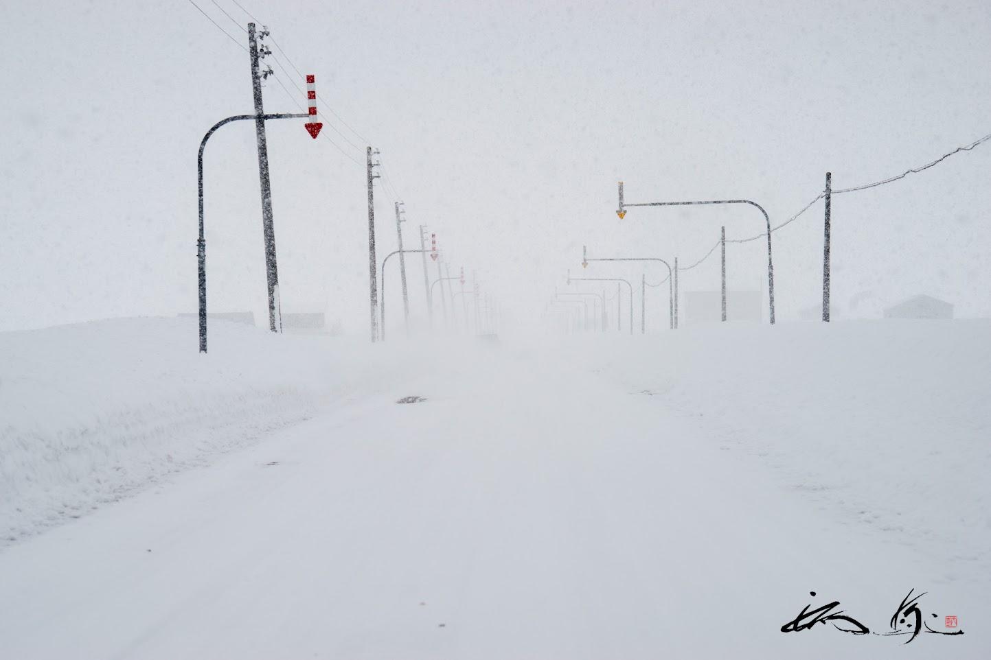 吹雪く道路