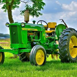 John Deere by Jarrod Unruh - Transportation Automobiles ( field, outdoors, farms, tractor, farming, farm, farmer, farmland, transportation,  )