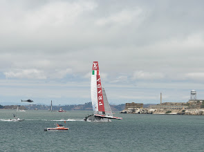 Photo: Luna Rossa team at the limits and won todays race of the semi finals.