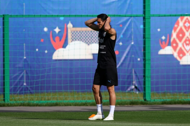Edinson Cavani of Uruguay looks on during a training session at Sports Centre Borsky on July 5, 2018 in Nizhny Novgorod, Russia.