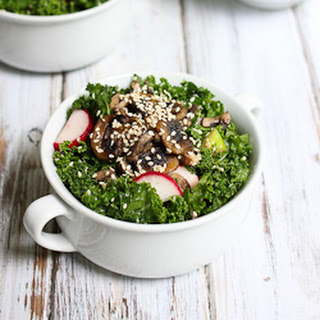 Kale Salad with Warm Mushrooms and Ginger Dressing