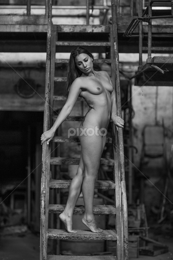 nude in the factory #3 by Reto Heiz - Nudes & Boudoir Artistic Nude ( anetta keys, urbex, nude, stairway, black and white, factory, female nude, abandoned )