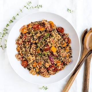 Quinoa and Lentil Roasted Vegetable Salad.