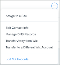Edit MX Records is selected from the More drop-down list.