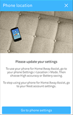 Nest app update phone location