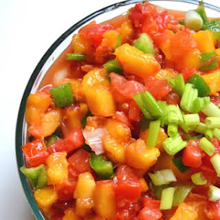 Homemade Peach Salsa.
