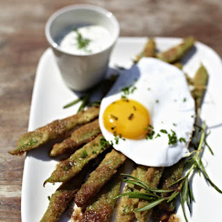 Eggs with Fried Green Beans and Chive Sauce
