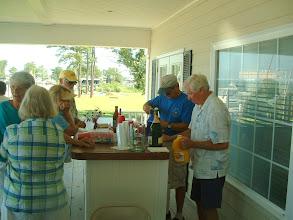 Photo: Bob Strieter and Al Moore doing bar tending Sunday morning.