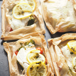 Fish And Vegetables In Parchment (en Papillote).