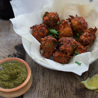 Courgette and Onion Pakora.