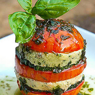 Tomato Napoleon with Basil Cashew Cheese and Basil Oil.