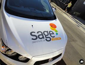 Photo: AutoSkin ~ drive your brand home #fleetgraphics #holdenbarina #SageInstitute #education #partialvehiclewrap #hatchback