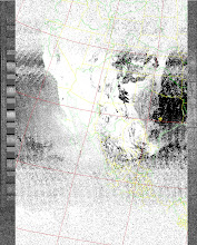 Photo: NOAA 19 northbound 34W at 30 Sep 2012 20:20:02 GMT on 137.10MHz, ZA [sensor 4 (thermal infrared)] enhancement, Normal projection, Channel A: 2 (near infrared), Channel B: 4 (thermal infrared)