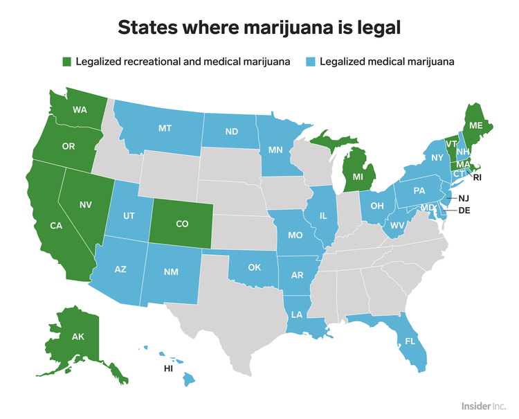 states where marijuana legal map