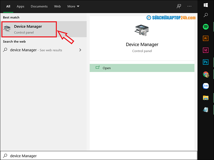 Tìm kiếm và chọn Device Manager