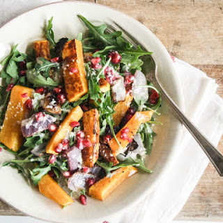 Butternut Squash And Pomegranate Salad with Tahini Dressing