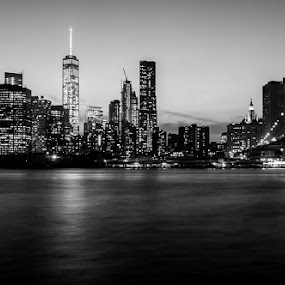 The Lights of Brooklyn by Stephen Majchrzak - Black & White Buildings & Architecture