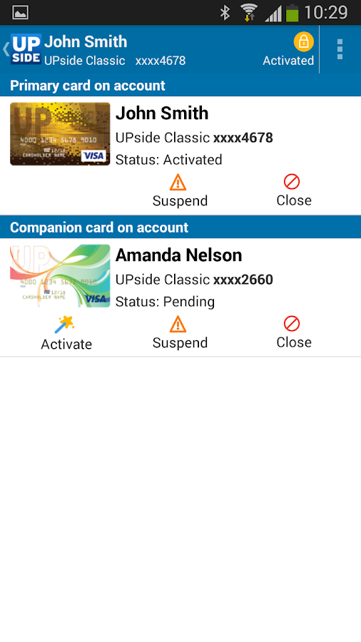 UPside Card- screenshot