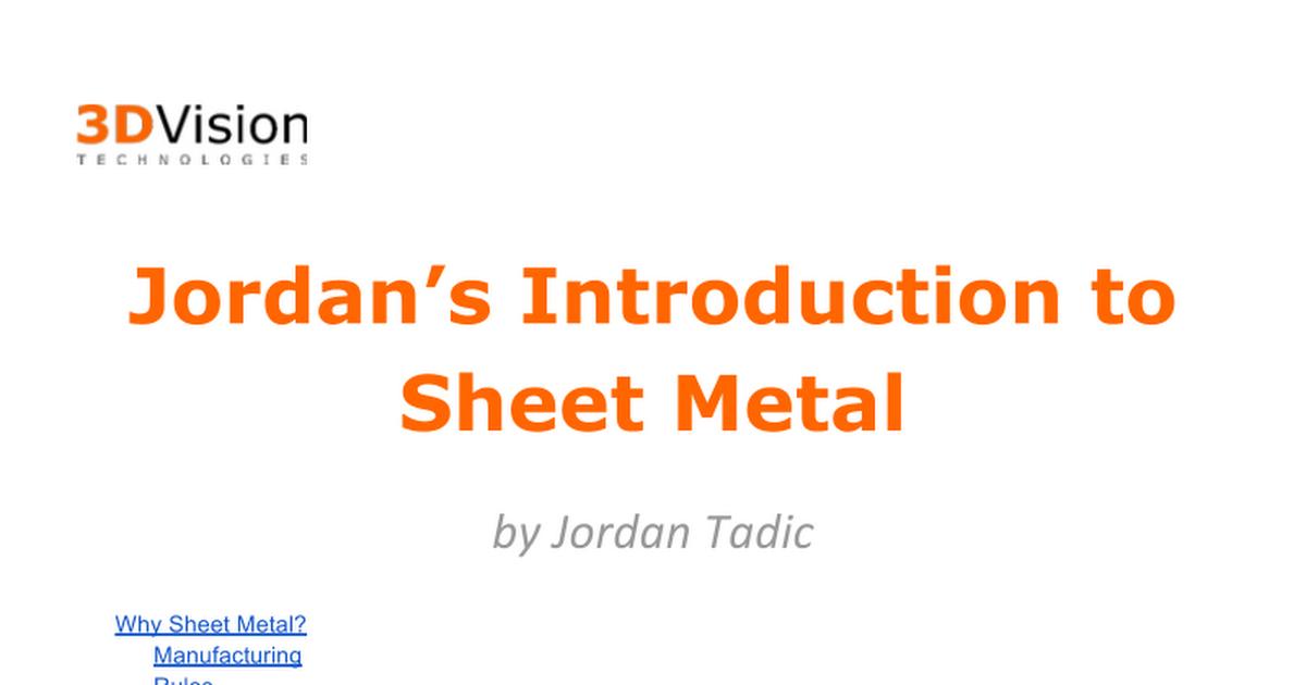 Jordan S Introduction To Sheet Metal Google Docs