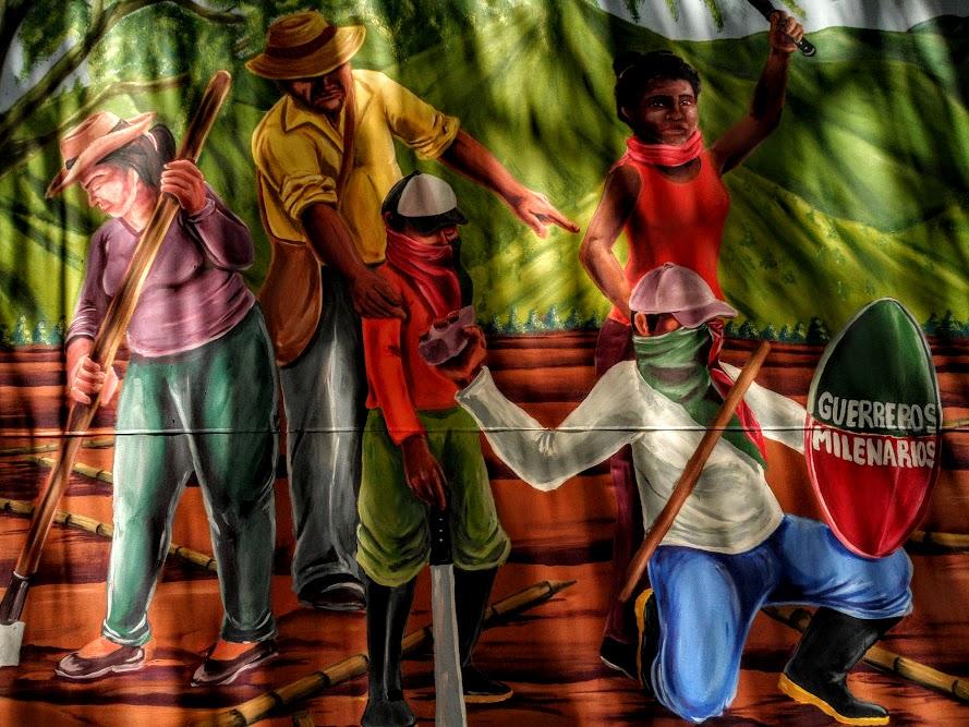 Minga artística por el Wët wët fxi'zenxi  finca La Emperatriz y Canaima resguardo de Huellas, Caloto (norte del Cauc