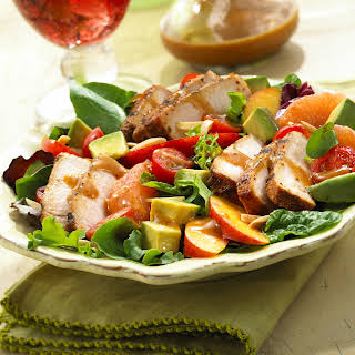 BBQ Pork Salad with Summer Fruits & Honey Balsamic Vinaigrette.