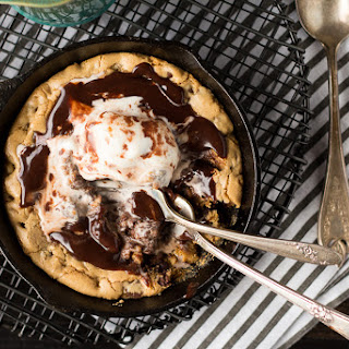 Chocolate Chip Cookie Blondie Skillet Sundae For Two.
